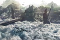 Картинка облака, корабль, чайка, Храм, пушка, крепость, статуи