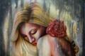 Картинка цветок, девушка, волосы, роза, арт, живопись, плечи