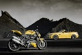 Картинка машина, желтый, Mercedes-Benz, мотоцикл, суперкар, байк, Ducati