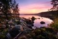 Картинка лес, закат, озеро, камни, спокойствие, by Robin de Blanche, Asleep