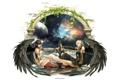 Картинка небеса, Девушки, меч, ангелы, арка