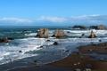 Картинка камни, побережье, скалы, горизонт, волны, море