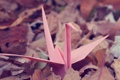 Картинка журавлик, оригами, pink, autumn