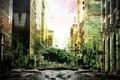 Картинка природа, город, дерево, здания, разруха