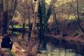 Картинка осень, лес, девушка, деревья, природа, фото, настроение