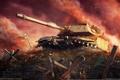 Картинка закат, war, облака, танк, дым, sunset, кресты