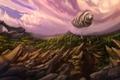 Картинка облака, скалы, арт, дирижабль
