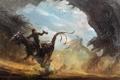 Картинка песок, человек, монстр, динозавр, погоня, голова, ящерица