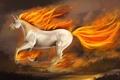 Картинка фантастика, лошадь, арт, единорог, скачет, копыта, огненная
