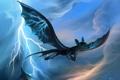 Картинка молния, арт, полёт, зубастик, дракончик, как приручить дракона