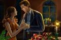 Картинка девушка, цветы, романтика, встреча, свечи, арт, мужчина
