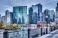 Картинка город, река, здания, Иллиноис, небоскребы, Чикаго