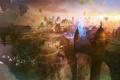 Картинка птицы, город, скалы, магия, статуи, в небе, War of the Immortals
