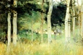 Картинка лес, деревья, пейзаж, природа, картина, Chaumiere en Normandie, Berthe Morisot