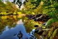 Картинка небо, деревья, озеро, отражение, река, камни, Великобритания