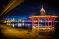 Картинка Chicago, Navy Pier Park, беседка, ночь, парк, огни, чикаго
