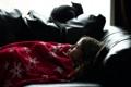 Картинка кошка, девушка, отдых