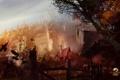 Картинка город, туман, замок, рисунок, вороны, Guil wars 2