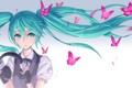 Картинка vocaloid, бабочки, девушка, волосы, nidy-2d-, наушники, вокалоид