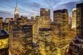 Картинка свет, город, огни, окна, Нью-Йорк, небоскребы, вечер