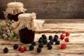 Картинка ягоды, малина, виноград, баночки, банки, смородина, ежевика