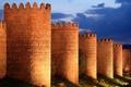 Картинка небо, облака, свет, ночь, огни, башня, крепость