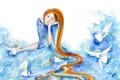 Картинка девушка, рисунок, крылья, акварель, кружки, локоны