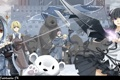 Картинка зима, оружие, замок, девушки, животное, меч, аниме