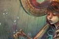 Картинка вода, девушка, ноты, аниме, арт, арфа, музыкальный инструмент
