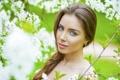 Картинка глаза, взгляд, лицо, портрет, весна, шатенка