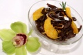 Картинка цветок, апельсин, шоколад, сладости, flower, десерт, орхидея