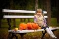 Картинка девочка, скамья, настроение, тыквы