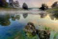 Картинка мост, природа, туман, река, камни, утро, берега