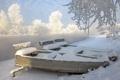 Картинка зима, снег, природа, река, лодки