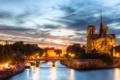 Картинка ночь, огни, река, Франция, Париж, Сена, собор