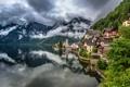 Картинка лес, горы, природа, город, дома, austria, Salzkammergut