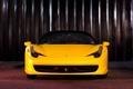 Картинка жёлтый, феррари, yellow, италия, передок, 458 italia, чёрная крыша