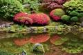 Картинка трава, цветы, пруд, камни, сад, дорожка, США