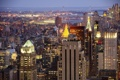 Картинка мост, огни, небоскреб, дома, Нью-Йорк, вечер, панорама