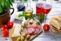 Картинка вино, красное, бокал, бутылка, масло, еда, сыр