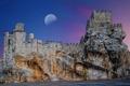Картинка море, небо, скала, замок, Луна, Испания, Андалусия