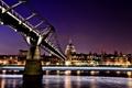Картинка ночь, Англия, Лондон, night, London, England, millennium bridge