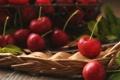Картинка макро, красный, вишня, ягоды