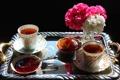 Картинка цветы, чай, букет, чашка, ваза, натюрморт, джем
