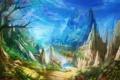 Картинка rock, синева, asia, река, скалы, вишня, сакура