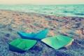Картинка песок, море, обои, цветные, бумажные кораблики