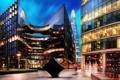 Картинка город Лондон, здания, Англия, офисы, вечер, Великобритания, огни