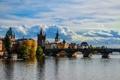 Картинка облака, мост, река, дома, Прага, Чехия, набережная