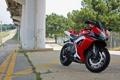 Картинка деревья, красный, разметка, мотоцикл, red, suzuki, bike