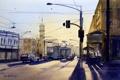 Картинка свет, город, улица, провода, часы, башня, картина